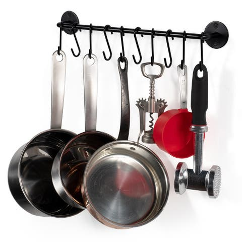 "Wallniture Cucina 16"" Kitchen Utensil Holder and Pot Organizer with 10 S Hooks"