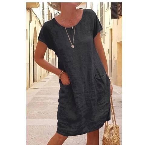Soft Linen Cotton Lantern Loose Dress