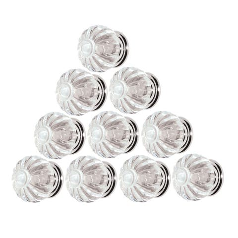 10 Clear Acrylic Cabinet Knobs and Pulls 1 1/4 Inch Dia Chrome Back