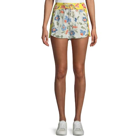 Joie White Women's Size 10 Floral Print Lace Up Shorts Silk