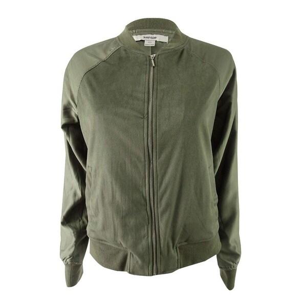 Kensie Green Faux-Suede Women's Size Medium M Bomber Jacket