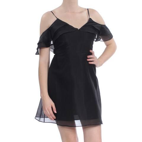 KEEPSAKE Womens Black Short Sleeve Mini A-Line Cocktail Dress Size M