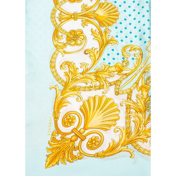 Shop Versace Women S Baroque Pattern Silk Scarf Blue
