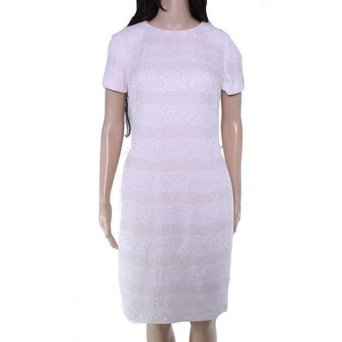 Lauren by Ralph Lauren Womens Sheath Dress White Size 0 Floral Lace