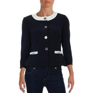 Tahari ASL Womens Petites Four-Button Blazer Knit Contrast Trim