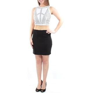 JUMP $109 New 1268 Black White Rhinestone 2 Piece Mini Dress Juniors 3 B+B
