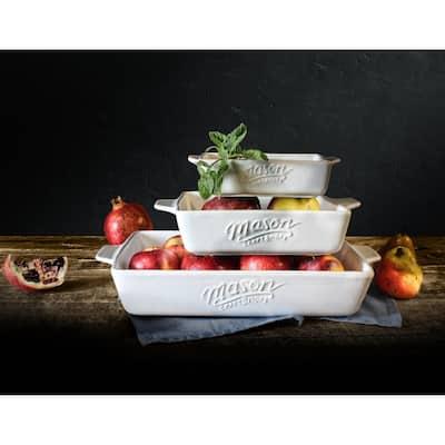Mason Craft & More 3PC Bakeware Set - White Stoneware