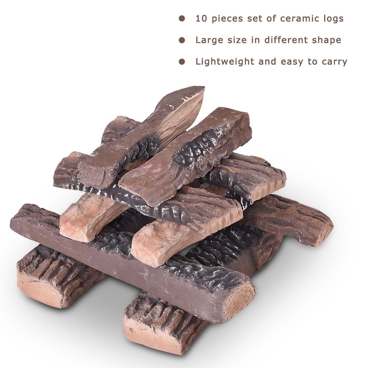 9PCS Ceramic Wood Gas Log Set Fireplace Imitation Wood Propane Firepit Log sets