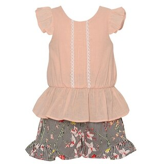 Bonnie Jean Little Girls Pink Floral Print Bow 2 Pc Flared Shorts Set