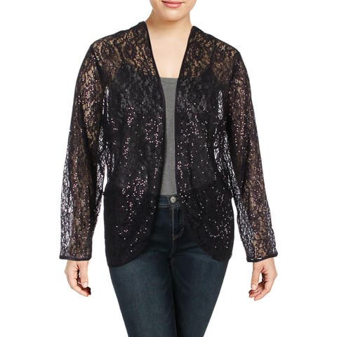 SLNY Womens Plus Cardigan Top Lace Sequined