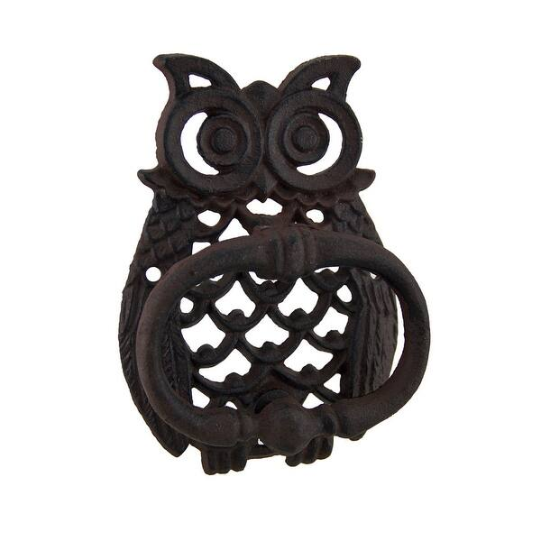 Rustic Cast Iron Filigree Owl Decorative Door Knocker