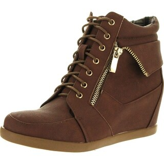 Top Moda Womens Peter Fashion Leatherette Lace-Up High Top Wedge Sneaker Bootie