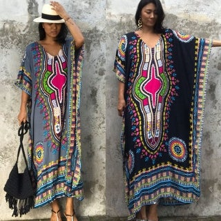 Women Fashion African Print Dress Casual Straight Print Kaftan Dress