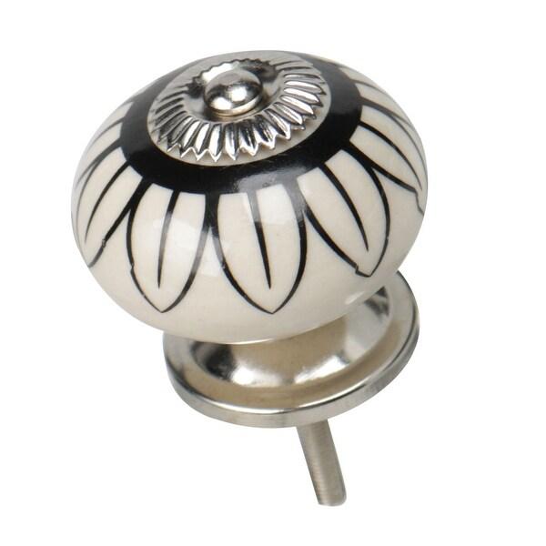 Ceramic Knobs Vintage Knob Drawer Round Printed Puller Handle for Furniture Cabinet Cupboard Wardrobe Dresser Decorative, #2