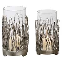 Set of 2 Silver Metal & Clear Glass Hurricane Pillar Candle Holders 10""