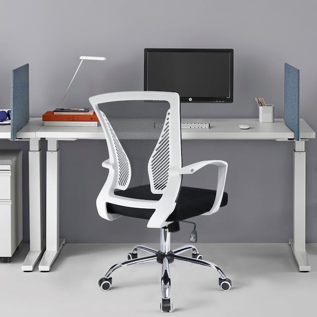 Office Chair Mid Back Swivel Lumbar Support Desk Chair, Computer Ergonomic Mesh Chair with Armrest - Silver