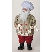 """24"""" Red and White Santa Claus Christmas Figure with Marshmallow Garland"""