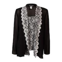 Alex Evenings Women's Embroidered Blouse Set - Black/White - s