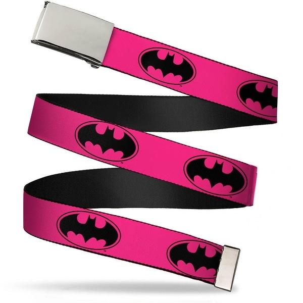 Blank Chrome Buckle Bat Signal 3 Fuchsia Black Fuchsia Webbing Web Belt