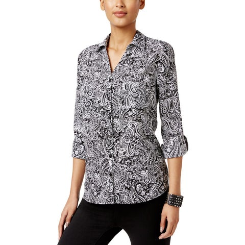 NY Collection Womens Button-Down Top Adjustable Sleeve Button-Down