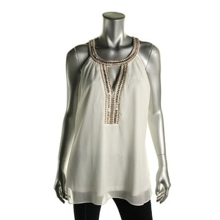 City Chic Womens Beaded Neck Shimmer Blouse - XS