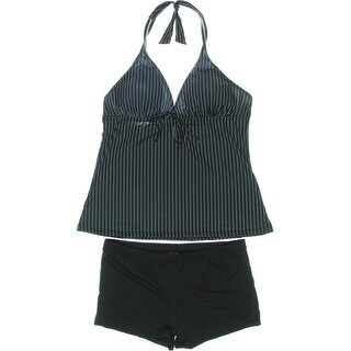 Octopus Beachwear Womens Pinstripe Halter Tankini Swimsuit - 48