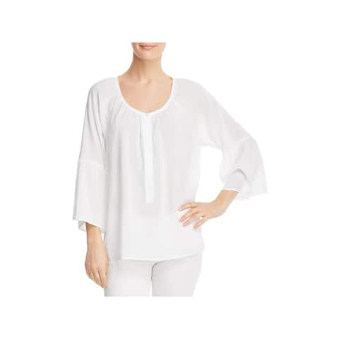 Side Stitch Womens Blouse Bell Sleeve Button-Down