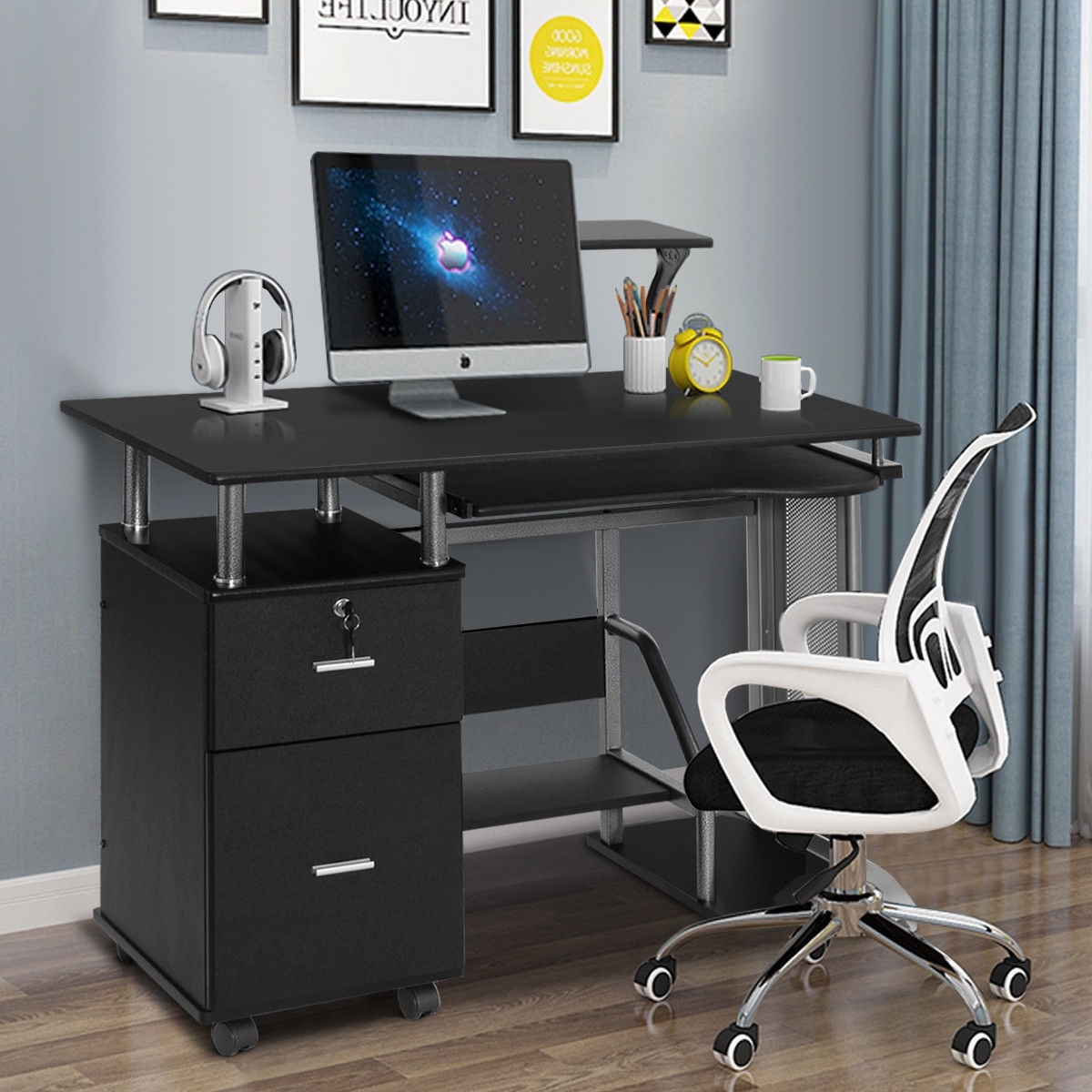 Costway Computer Desk Pc Laptop Table Workstation Home Office Furniture W Printer Shelf