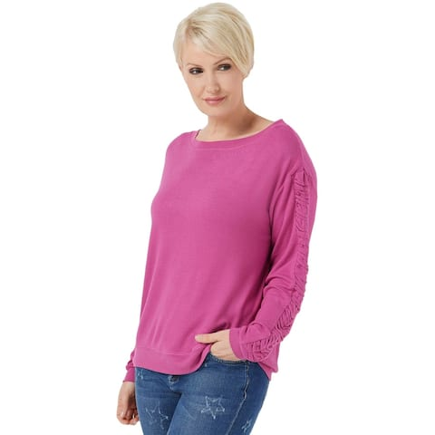 Peace Love World Womens Comfy Top with Ruched Sleeve X-Small Amore Pink A353713