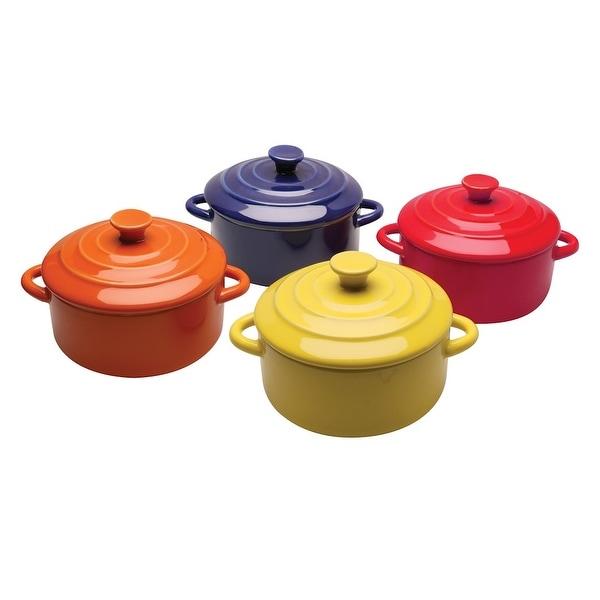 BW Brands Mini Casserole Pots - Set of 4 Stoneware Single Serve Baking Dishes with Lids, 8 Ounces Each, Multi-Colored