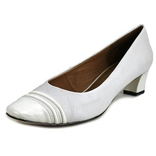 Auditions Classy Women Square Toe Patent Leather White Heels