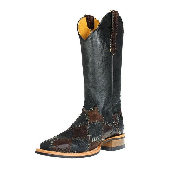 Cinch Western Boots Women Crackle Patchwork Crackle Black Brown