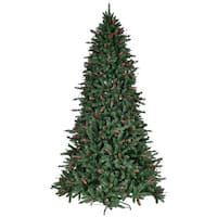 Gymax 8' Artificial PVC Christmas Tree Red Berries & Pine Cones Decoration