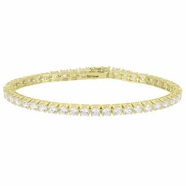 Womens Tennis Link Bracelet 14K Gold Finish Solitaire Simulated Diamonds On Sale