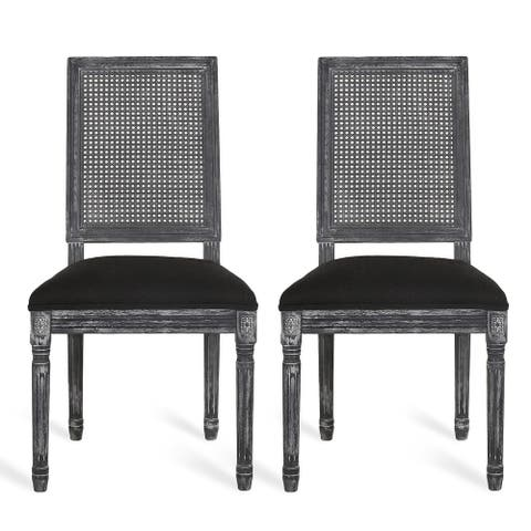 Regina French Country Wood and Cane Upholstered Dining Chair (Set of 2) by Christopher Knight Home