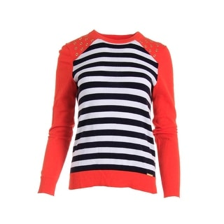MICHAEL Michael Kors Womens Grommet Striped Pullover Sweater - L
