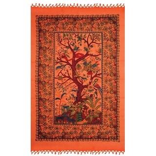 Handmade Cotton Tree of Life Tapestry Tablecloth Wall Hang 85x55 inches Beach Sheet Dorm Decor Orange & Purple