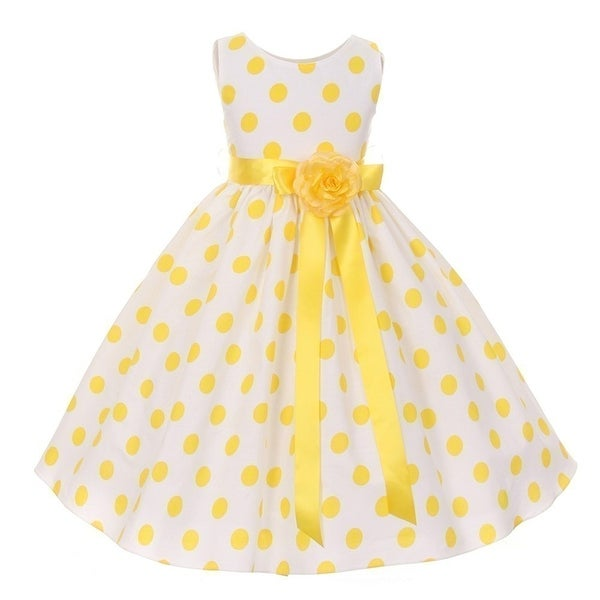 2e733bde19c Girls Yellow Polka Dot Sleeveless Special Occasion Flower Girl Dress 8-12