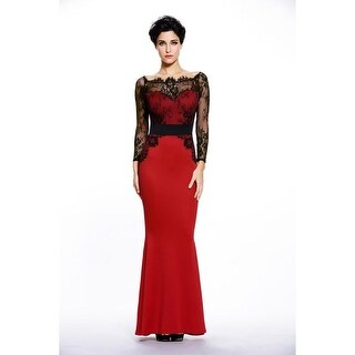 Elegant Red/Black/Blue Lace Slash Neck Patchwork Long Sleeve Maxi Dress Formal Evening Gowns