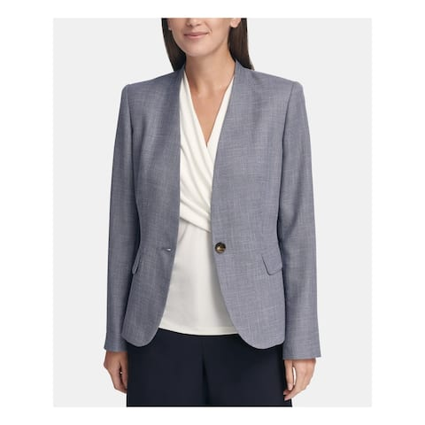 DKNY Womens Petites One-Button Blazer Suit Separate Professional - Blue - 14P
