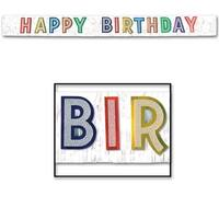 """Pack of 6 Multi-Colored Metallic and Glittered """"Happy Birthday"""" Banner 9' - Multi"""