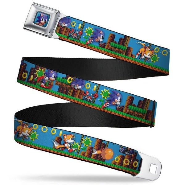 Sonic Classic Sonic Pixelated Pose Full Color Blue Sonic & Tails 2 Enemies Seatbelt Belt