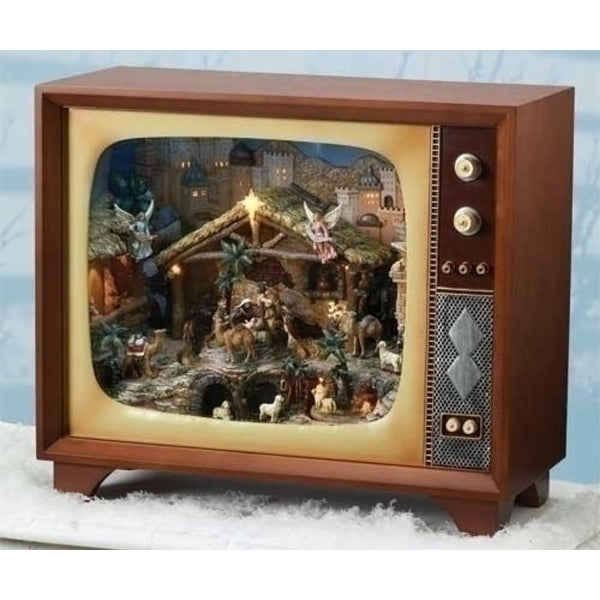 "23.25"" Amusements LED Lighted Musical Animated TV with Religious Nativity Christmas Scene"