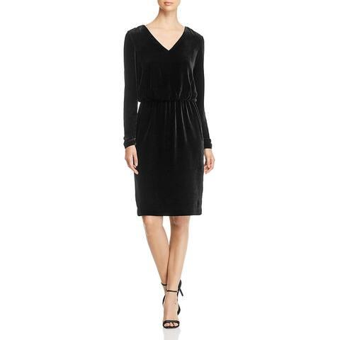 Lafayette 148 New York Womens Josefina Cocktail Dress Velvet Blouson - Black