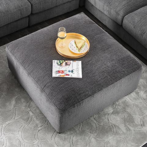 Furniture of America Cleo Transitional Grey Chenille Square Ottoman