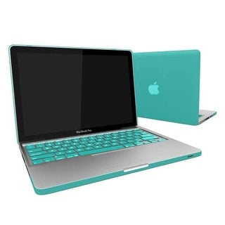 """Rubberized Hard Snap-On Case Cover for Apple MacBook Pro 13"""" with Keyboard Skin Fits Model A1278 - Turquoise Blue"""