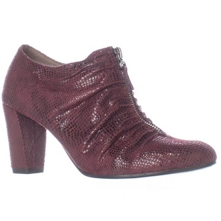 Aerosoles Fortunate Front Zip Scrunch Ankle Boots - Wine Snake