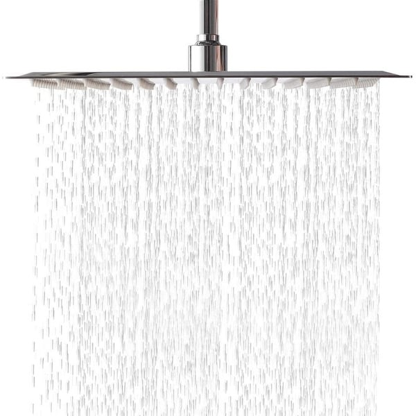 12 Inch Rainfall Shower Head Solid Square Ultra Thin Polish Chrome ,Waterfall Full Body with Silicone Nozzle. Opens flyout.