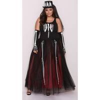 Plus Size Ms. Bones Skeleton Costume, Plus Size Skeleton Dress Costume