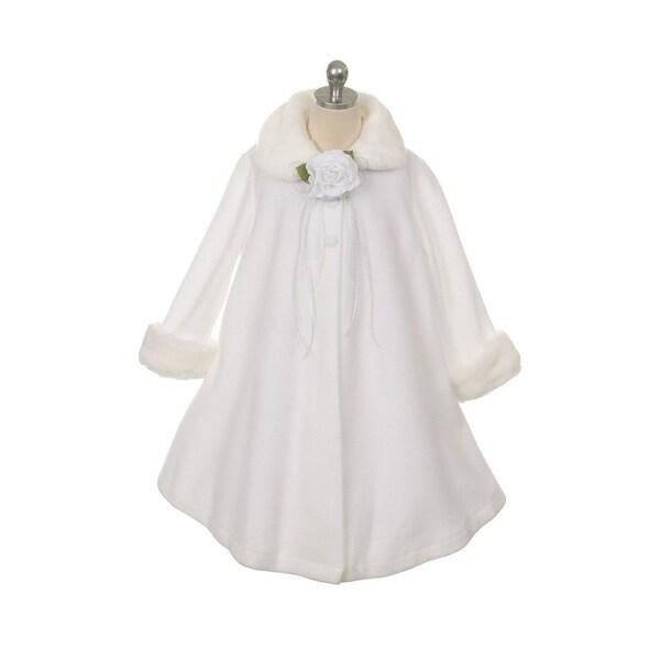 Kids Dream White Fleece Faux Fur Collar Cuff Stylish Coat Girls 2T